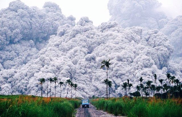 A Pick Up Truck Escapes Pyroclastic Flows Spewing From Mt