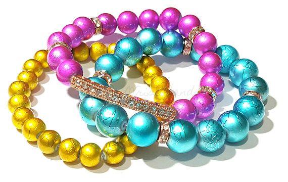 Metallic Bracelet Set Colorful Stack Turquoise Gold
