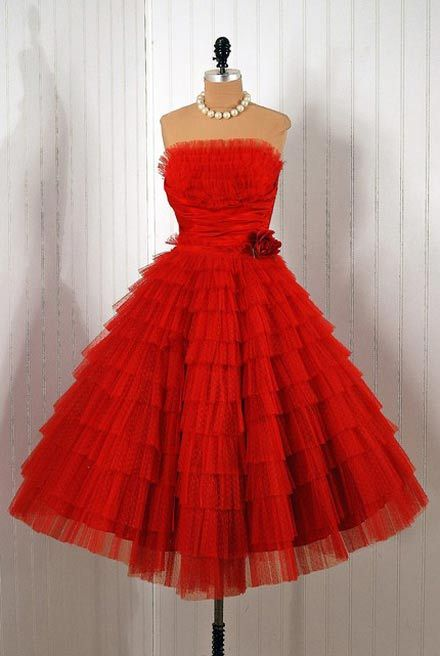 cherry red party dress