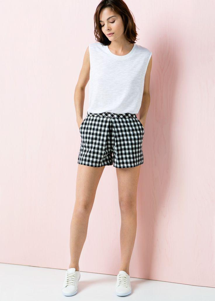 Karierte Shorts aus Baumwoll-Twill