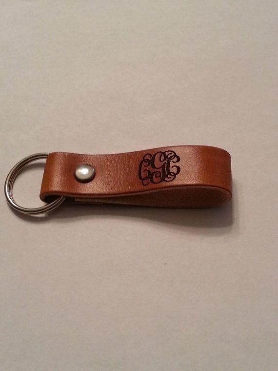 Monogram Leather keychain or pull strap