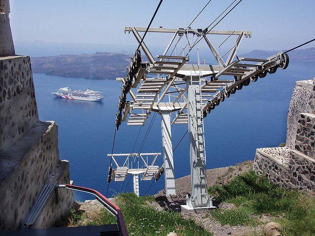 The Cable Car (Teleferik) in Fira, Santorini