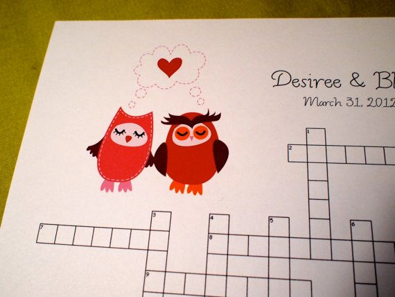NEW Love Owls - Custom Crossword Puzzle - Perfect for weddings, rehearsal dinners and showers