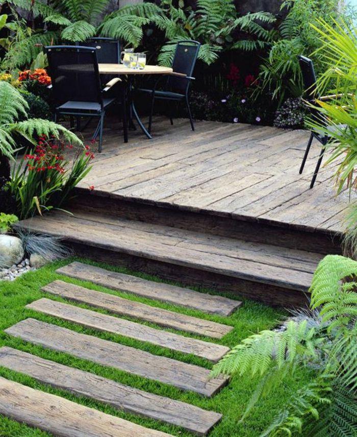 faire une allée en bois, revetement sol exterieur en bois,