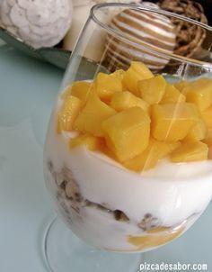 Parfait de avena con chia y mango - Pizca de Sabor