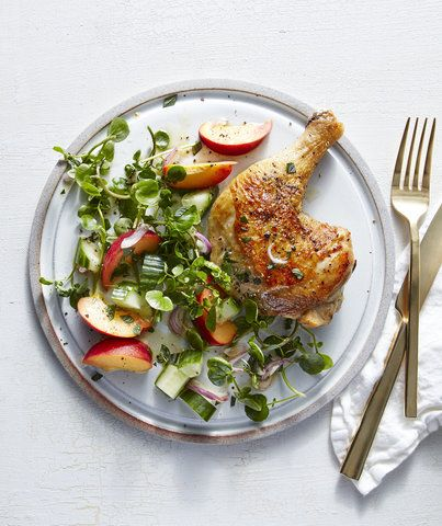 Chicken Legs With Peach, Shallot, and Watercress Salad | RealSimple.com
