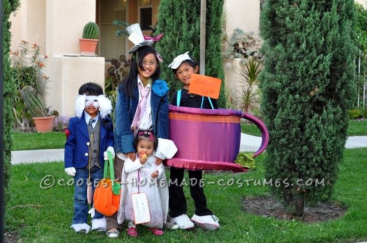 Cutest Mad Hatter Tea Party Family Homemade Costume Idea… Enter Coolest Halloween Costume Contest at http://ideas.coolest-homemade-costumes.com/submit/