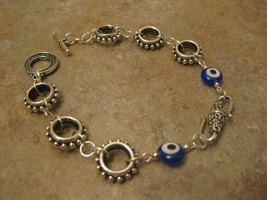 evil eye jewelry evil eye bracelet silver by NovelaNoveltyNotions, $35.00