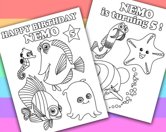 2 Personalized Coloring Pages  Finding Nemo  by PetiteMonkey