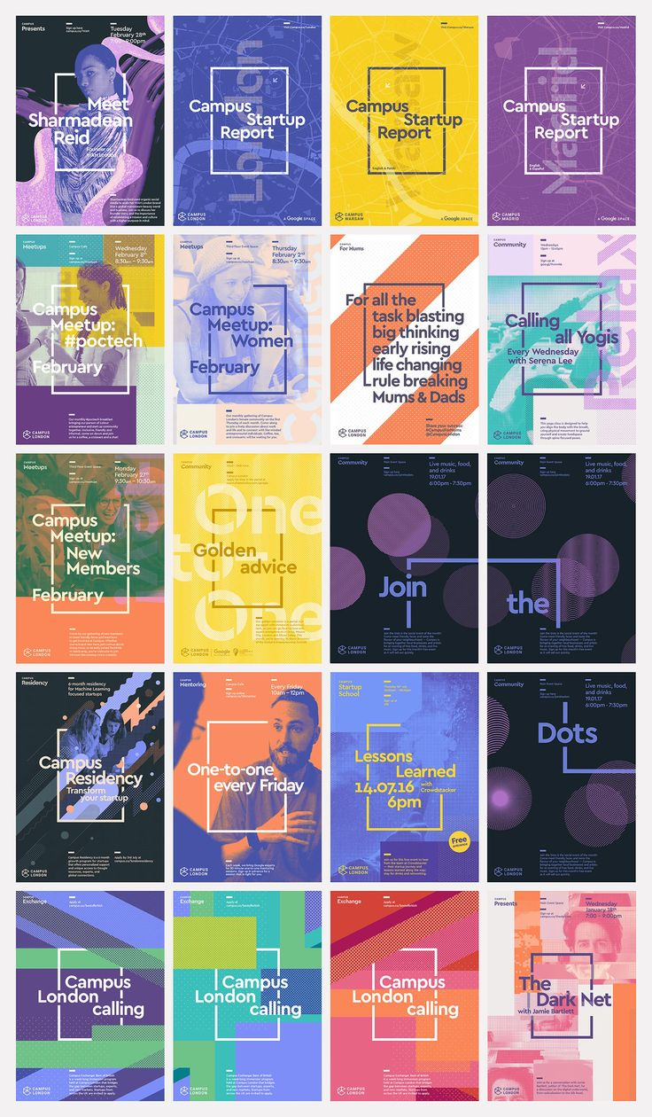 visual identity and poster design by MultiAdaptor for Google's co-working and event space concept Campus