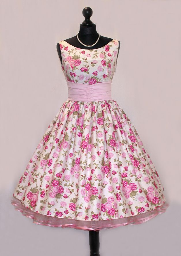 50s Spodnička šaty Pink Květinové léto