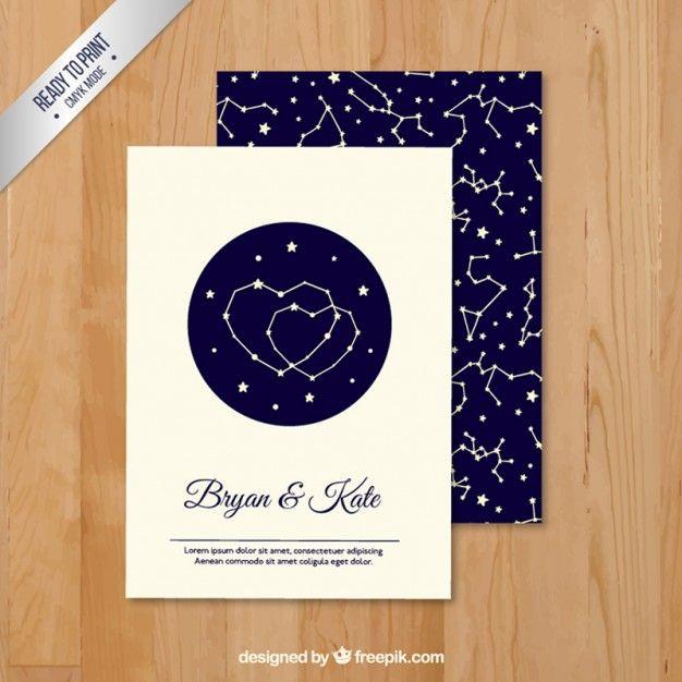 Invitation de mariage avec un motif de constellation Vecteur gratuit