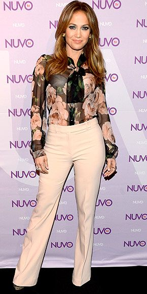 JENNIFER LOPEZ If you had told us J.Lo was going to wear high-waisted khakis and a demure floral button-down, we wouldnt have believed you. And yet, here she is, rocking the surprisingly conservative look at the NUVOtv Upfronts in N.Y.C.
