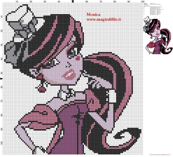 Draculaura 2 (Monster High) cross stitch pattern (click to view)