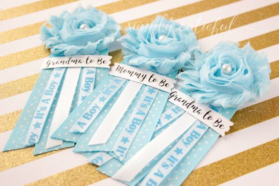 Blue Baby Shower Pins Corsages Mommy to Be Grandma to Be Pins