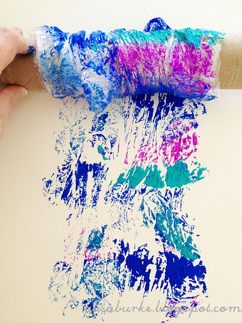 Alisa Burke - paint with plastic wrap secured around rolling pin; different colors #art_techniques #printing