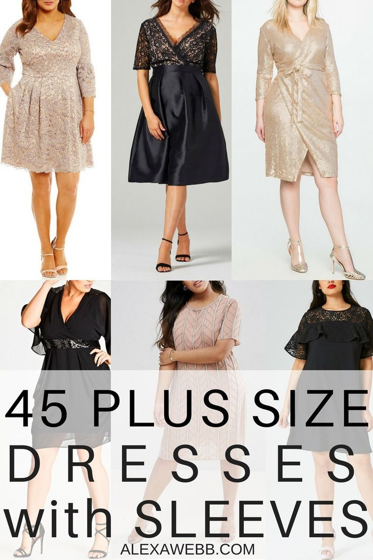 45 Plus Size Wedding Guest Dresses {with Sleeves} - Plus Size Cocktail Dresses - alexawebb.com
