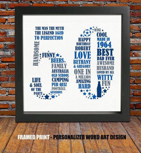 Not a Day over 49! So lets celebrate a special birthday by treating your loved one to this uniquely designed FRAMED personalized word art print. This