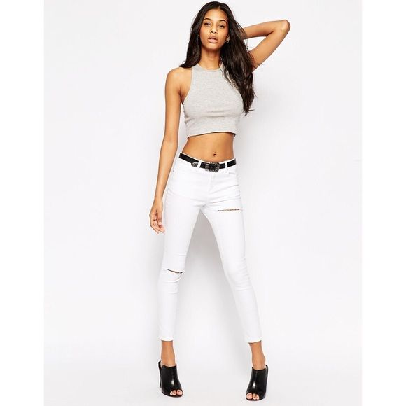 BLOGGER FAVE ASOS White Ripped Jeans ASOS Lisbon Midrise Ankle Grazer in Rock White Wash with Thigh and Knee Rip. Only worn once. W 28 L 32. ✌️OFFERS WELCOME ✌️ ❌no trades❌ ASOS Jeans Skinny