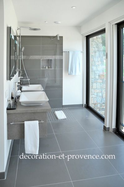 77 best SALLE DE BAIN images on Pinterest Bathroom, Bathrooms and - Salle De Bain Moderne Grise