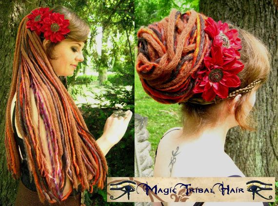 "GIPSY fantasy Larp yarn DREAD hair FALLS 112 dreadlocks 60cm/ 24"" long Amazon Warrior hair piece falls Burning Man Rave wig"