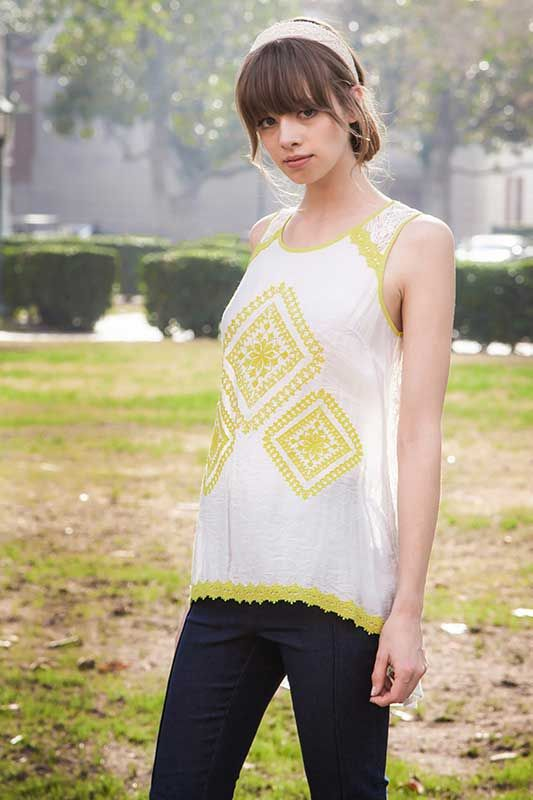 Ryu Clothing Embroidered Lace Tank Top RTA5025