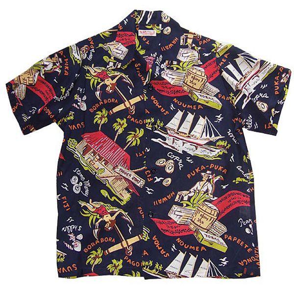 """SUN SURF"" ALOHA SHIRT 2010-COLLECTION 「SOUTH SEA TRADER」 'Keoni of Hawaii' John Meigs design"