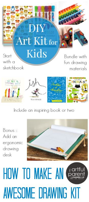 How to Make a Kids Art Kit: 6 DIY Gifts to inspire Creativity - such a great idea for the kiddos!! <3  with list for Drawing Kit, Painting Kit, Printmaking Kit, Sculpture Kit, Paper Collage Kit, Bits and Pieces Art Kit