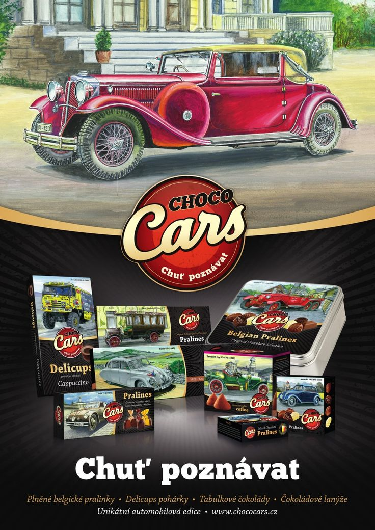 Unikátní automobilová edice Choco Cars s motivy vozů Tatra s krátkými texty o historii vozů a technických údajích. Edice obsahuje plněné belgické pralinky, Delicups pohárky, tabulkové čokolády a čokoládové lanýže.