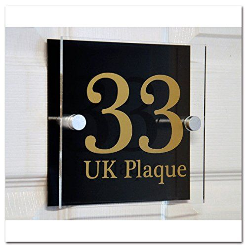 Square Double Paste GOLD TEXT Effect | Modern Design Personalised Crystal Clear Plaque & Black Acrylic Decorative Back Plate House Numbers Signs | Street Name Signs | House Name Plaques | House signs | Door Plaques (6 Font Styles To Choose)