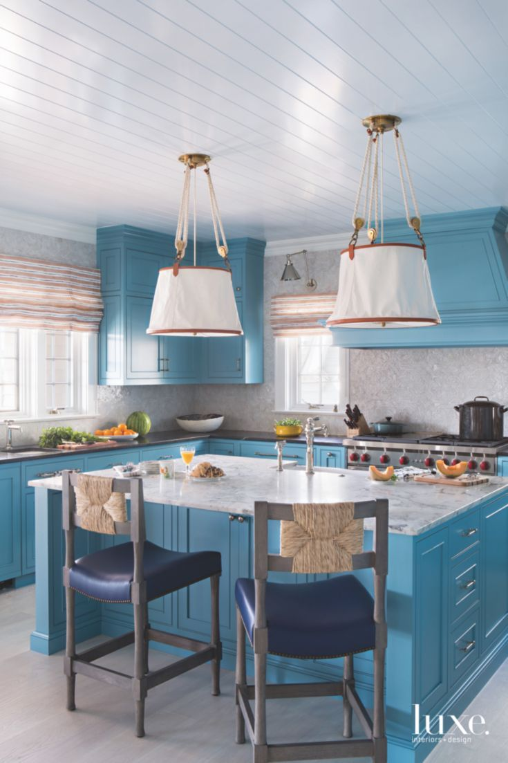 cerulean blue kitchen with traditional nautical lighting and barstools for the island home on kitchen decor blue id=60375