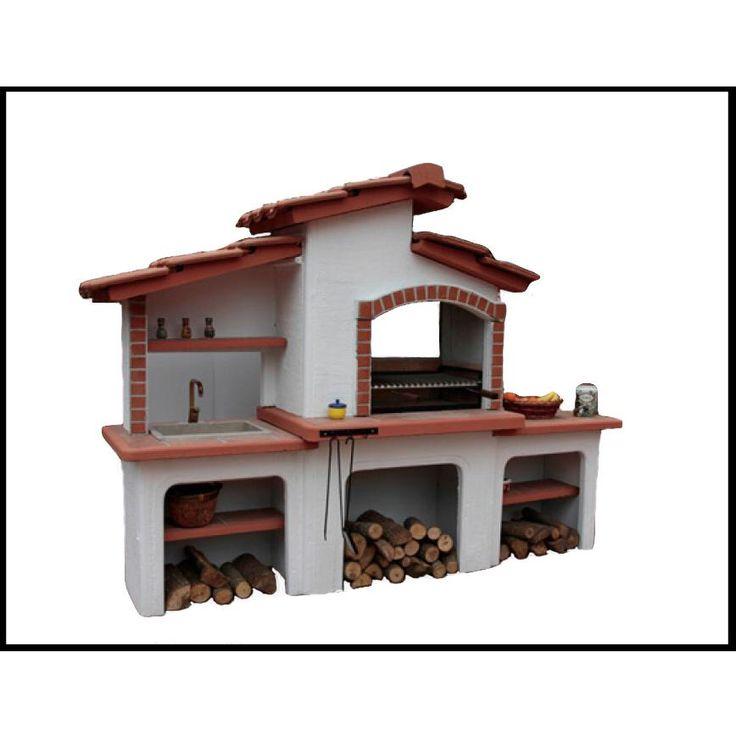 Barbecue modello Pisa: Barbecue da giardino realizzato in cemento armato, completo di focolare, piano di appoggio e lavandino.  Ideale per il tuo giardino, comodo e pratico avendo tutto a disposizione in un unico posto