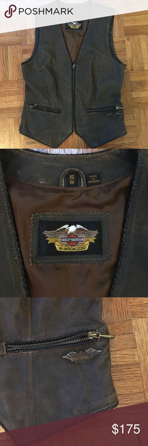 Women's Vintage Harley Davidson Vest It is used and could probably benefit from visiting a good leather shop for polishing. The leather is a little dried out. It is a really beautiful vest though. This is my mom's, and I have some really awesome memories of her wearing it when I was a kid. Let me know what questions you have. Harley-Davidson Jackets & Coats Vests