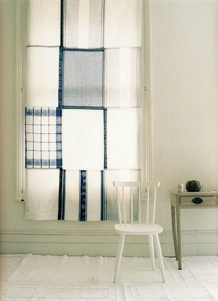 Blue and white tea towel patchwork curtain. I could actually make this! Great DIY project from Gardenista.