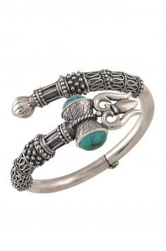 Silver Oxidized Turquoise Trishul Bangle