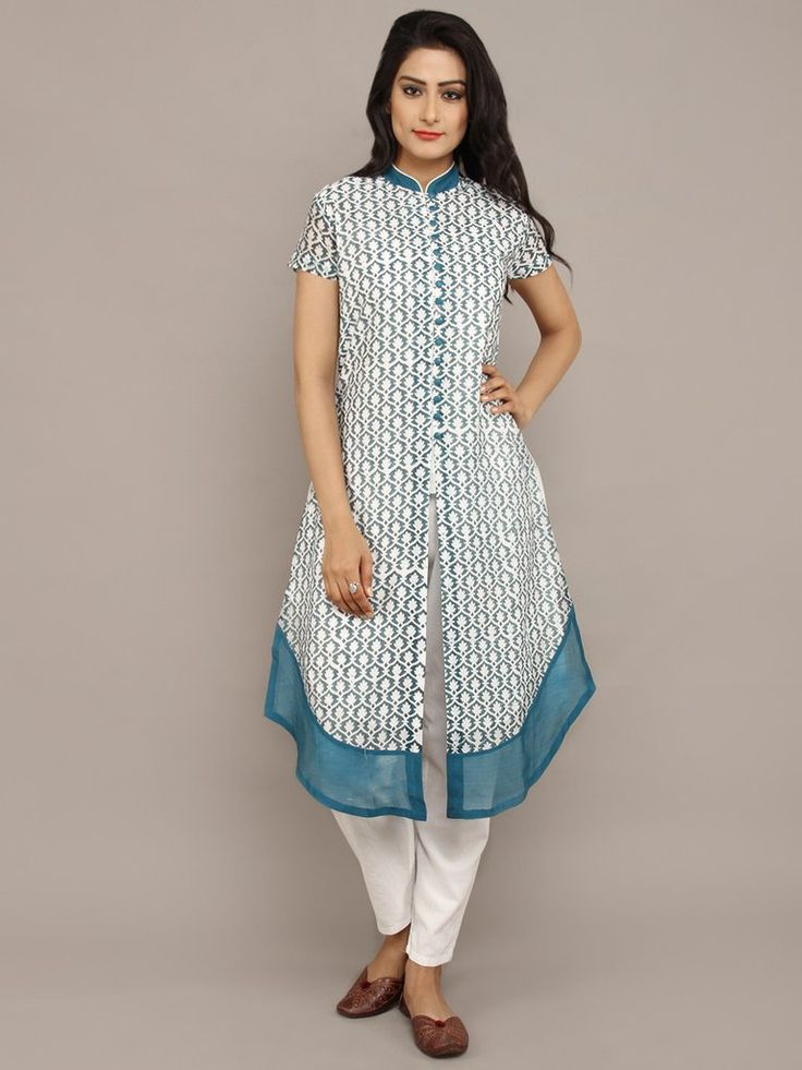 White Blue Chanderi Silk Block Printed Kurta