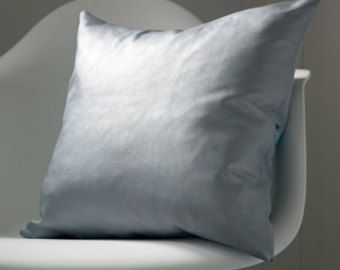 Metallic blue grey silver leather cushion by Murphy McCall at Etsy www.murphymccall.etsy.com