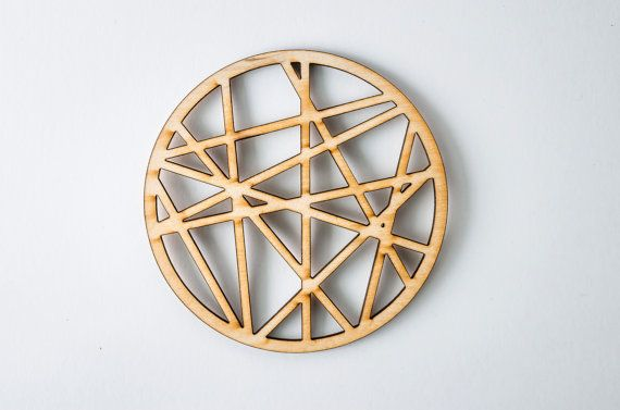 Crossing lines-Wooden laser cut coaster-for mug-for tea or coffee-Drinking-A007