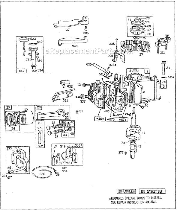 briggs and stratton 92500 series parts list and diagram   ereplacementparts com