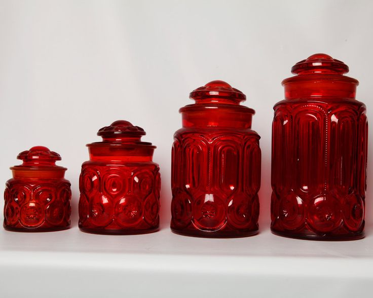 Vintage Ruby Moon Star Depression Glass Set Of 4 Red Kitchen Canistersglass
