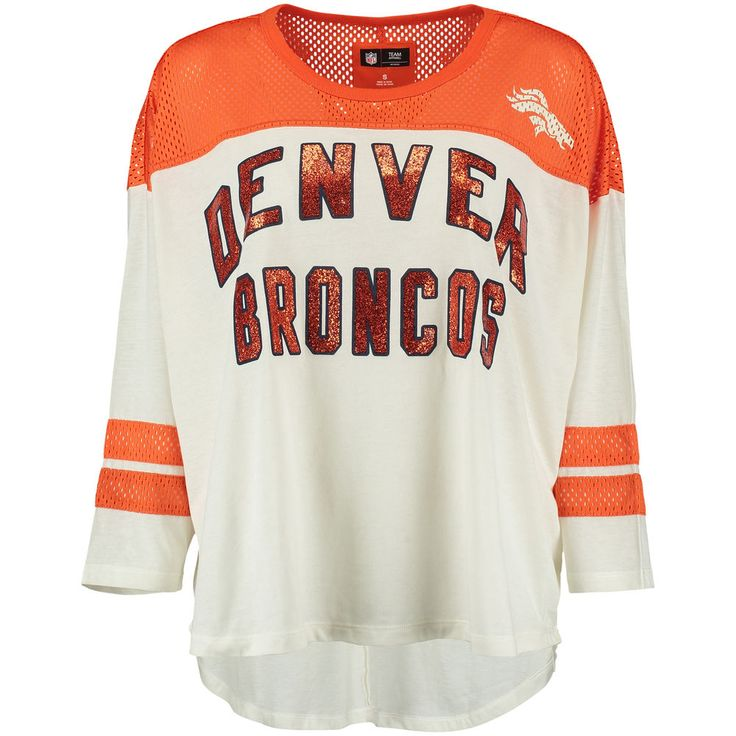 Women's Cream Denver Broncos Hail Mary 3/4 Sleeve T-Shirt  -