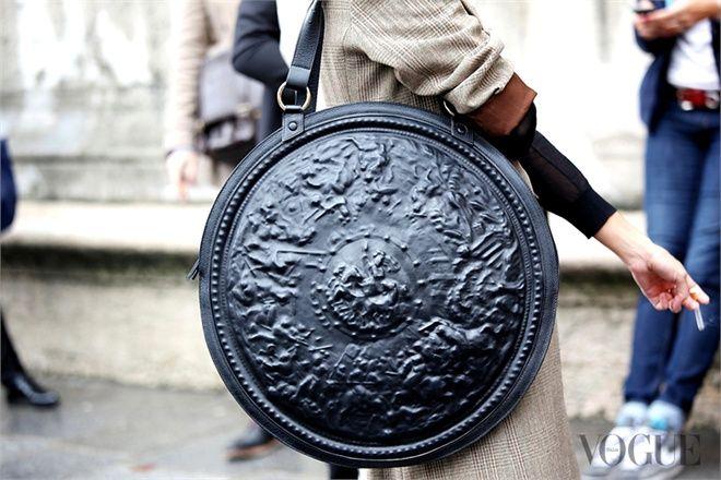 Awesome shield handbag (by unidentified designer) at Paris Fashion Week October 2012, Vogue Italia