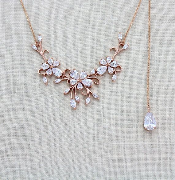 Dainty Rose gold Backdrop necklace that you can choose with or without the backd…