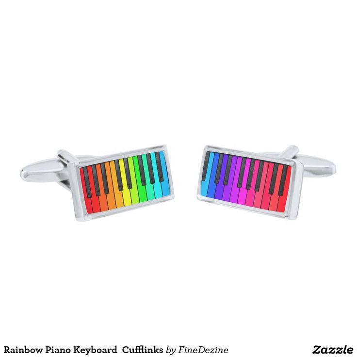Rainbow Piano Keyboard  Cufflinks