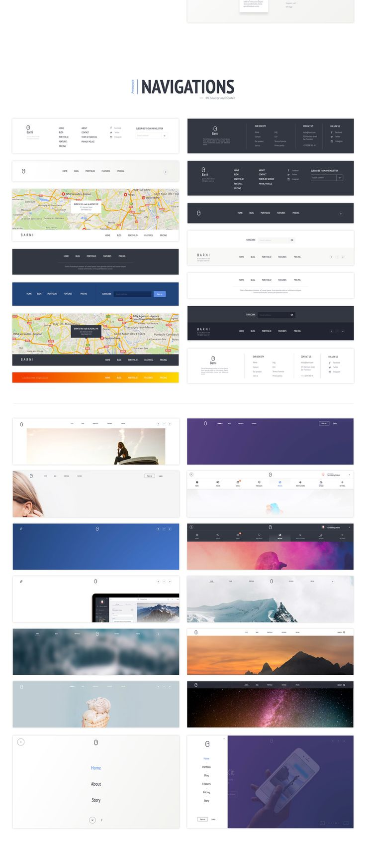 Barni for startup is the second part of this Barni UI series. It's a huge desktop UI kit coming with more than 140 components. Specially designed for startup purposes, Barni for startup includes exclusive components like testimonials, team, pricing, products and much more… also with common components (Sliders, Covers , Contents and Navigation). In total you'll receive more than 140+ different components and 6 landing pages.