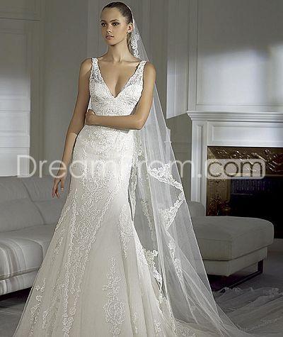 Gorgeous A-line V-neck Floor-length Appliques Organza  Vintage Wedding Dressess