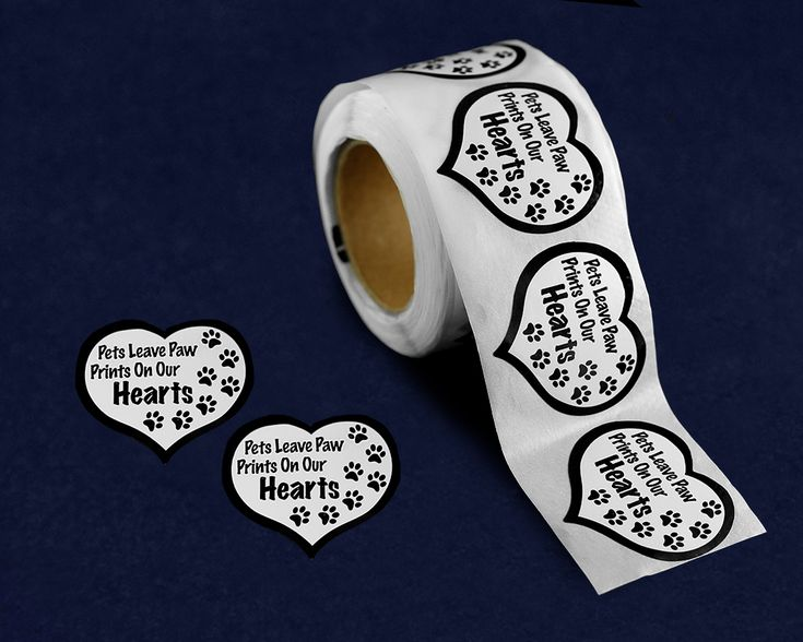 250 Pets Leave Paw Prints Heart Stickers (250 Stickers)