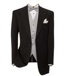 Grooms suit. Black jacket with light grey vest and bow tie. white shirt