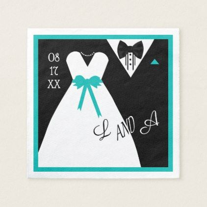 Wedding Napkin | Customize The Color Bride  Groom - black and white gifts unique special b&w style