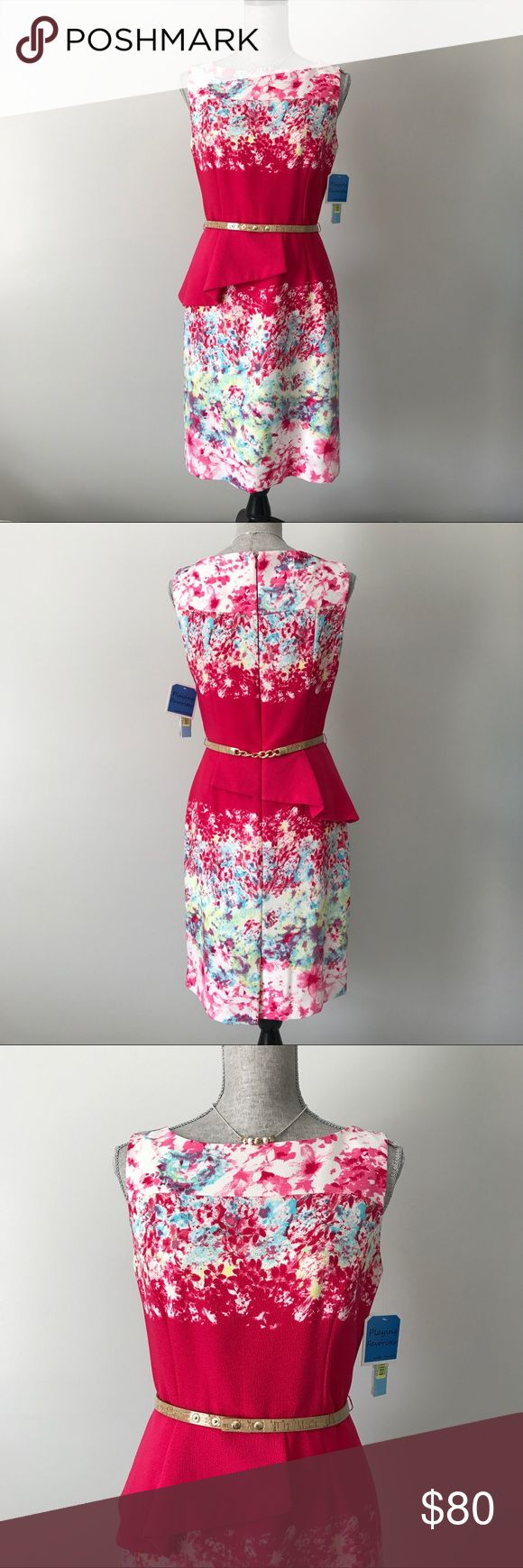 Antonio Melani Tiago Dress NWT Antonio Melani Tiago Fuchsia Dress with splashes of color and a gold-toned and cork styled belt. ANTONIO MELANI Dresses